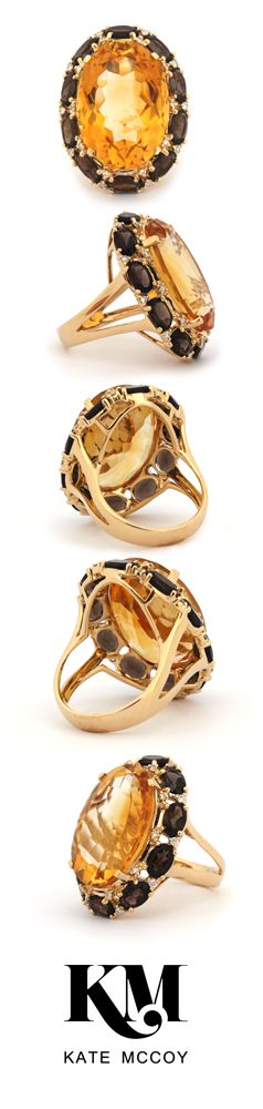Eau de Vie Ring by Kate McCoy | A cocktail ring like no other | made with a spectacular centre stone of Citrine, surrounded by a ring of smokey quartz and diamonds set in 18 karat yellow gold.