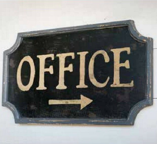 "Vintage Inspired Office Sign. 28"" x 15"" H. Wood. $37."