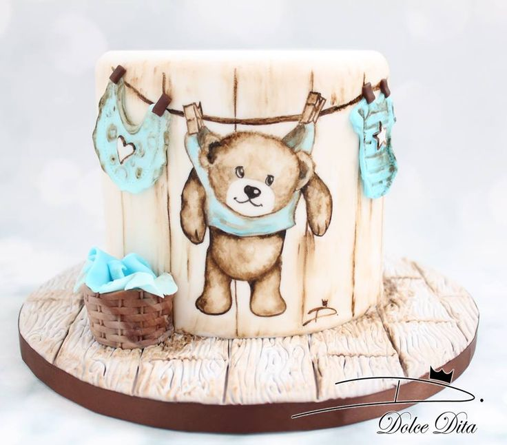 Teddy Bear Laundry Cake - super cute for a Baby Shower!