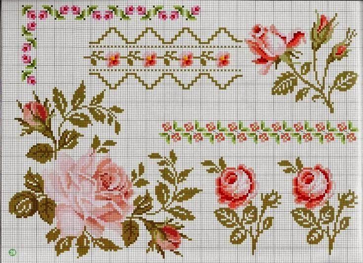 Preciosas cosas del corazón: Cross Stitch: rosas delicados en Shabby Chic (sistemas de recogida) de estilo