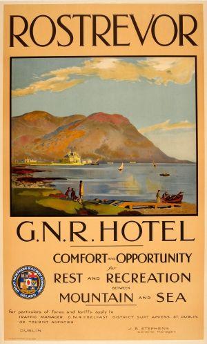 Rostrevor Great Northern Railway Hotel Ireland 1920s - original vintage poster listed on AntikBar.co.uk