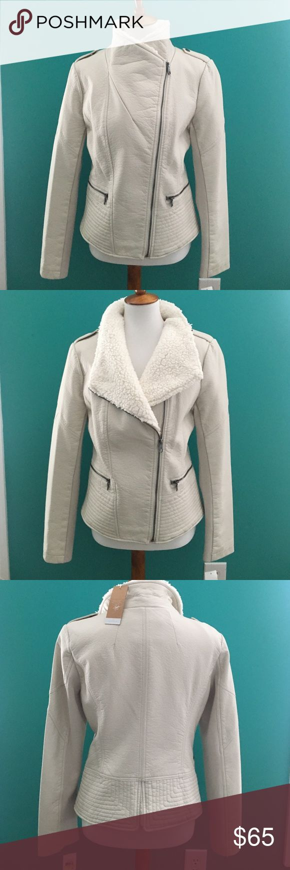 Jessica Simpson NWT beige jacket NWT - Tenth Anniversary Collection Jessica Simpson beige jacket with front zipper. Fur collar & lined. Great fun jacket ! Jessica Simpson Jackets & Coats Jean Jackets