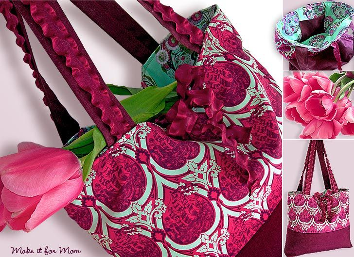 FREE project: Market Tote with Ruffly Ribbon Handles & Ties (from Sew 4 Home)