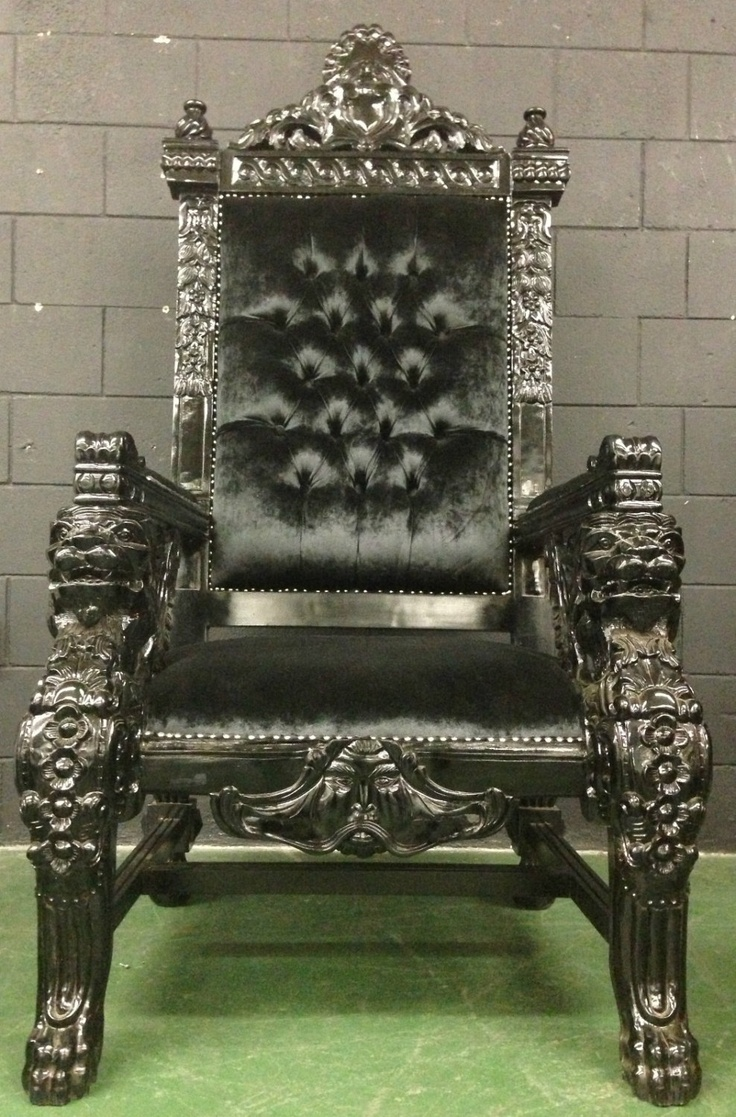 Hollywood Regency Xl Black Lion Head King Chair Queen