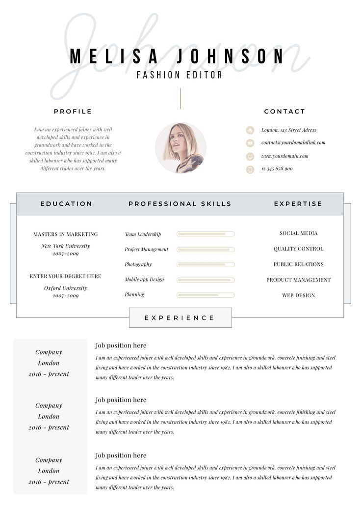 Resume Template Resume Cv Template Cv Design Curriculum Etsy Template Cv Cv Curriculum Vitae Idee Cv
