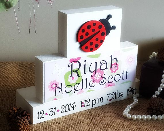 Decorative Wood Blocks Baby Name Birth by TimelessNotion on Etsy