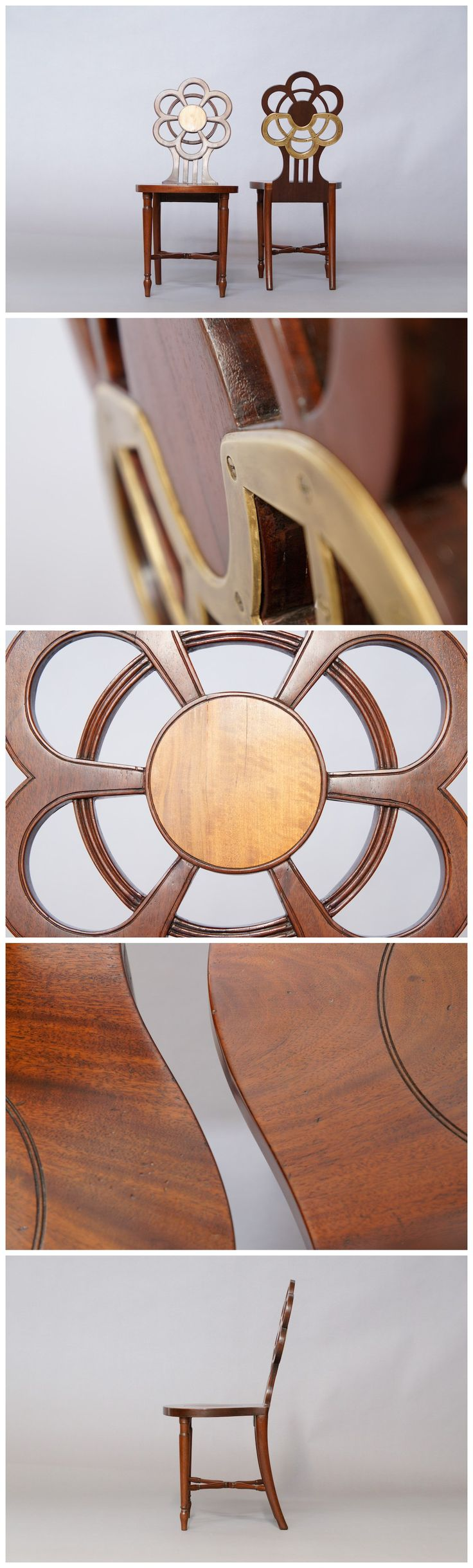 Nice George III Pair Of #mahogany U0026 Satinwood Flower Head Form Hall Chairs, C