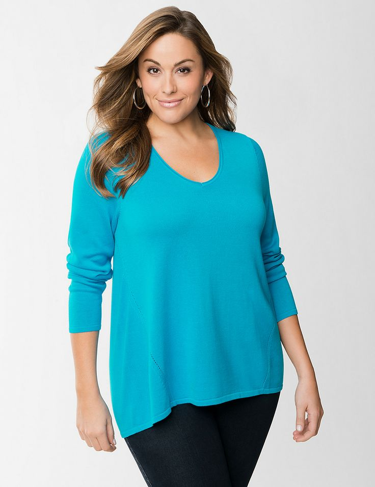 Zip back high low sweater @ Layne Bryant