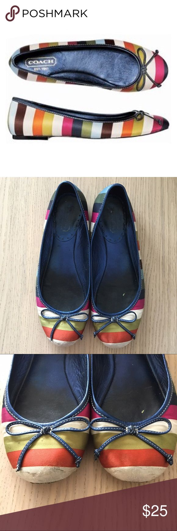 Coach Legacy Flats Pre Loved Coach Legacy satin striped flats in size 6.5. Pictures show very accurate indication of wear. Pricing reflects condition.  Lots of life left! Coach Shoes Flats & Loafers