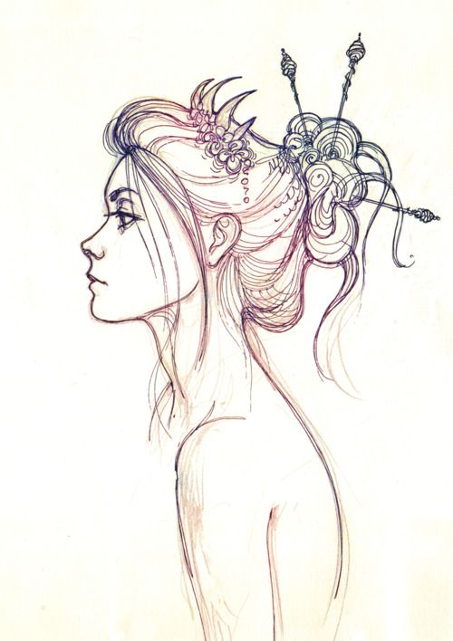 pretty hair sketch. ✤ || CHARACTER DESIGN REFERENCES | キャラクターデザイン • Find more at https://www.facebook.com/CharacterDesignReferences
