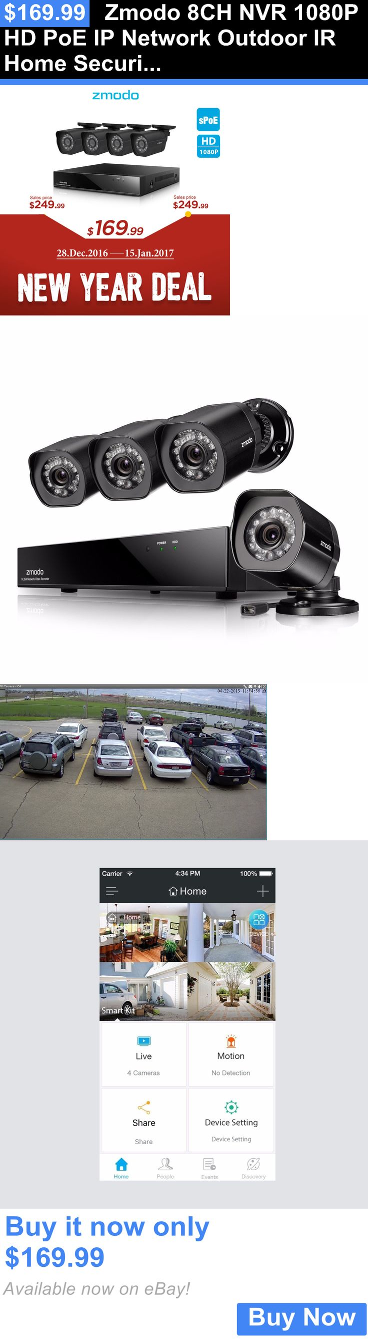 Digital Video Recorders Cards: Zmodo 8Ch Nvr 1080P Hd Poe Ip Network Outdoor Ir Home Security Camera System BUY IT NOW ONLY: $169.99