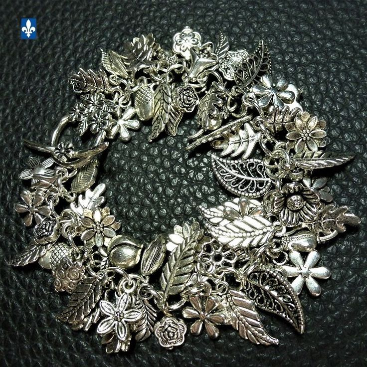 ♥ Gorgeous Plated Silver Various Floral Charms Bracelet