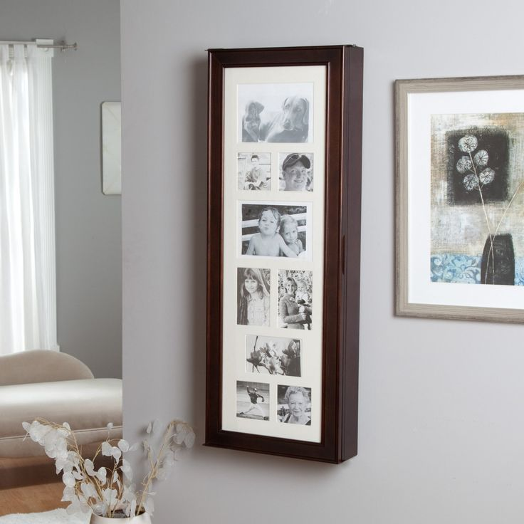 Another ides for a wall-mounted Jewelry Armoire. Instead of pictures I'd - 8 Best Images About Wall-Mounted Jewelry Storage On Pinterest
