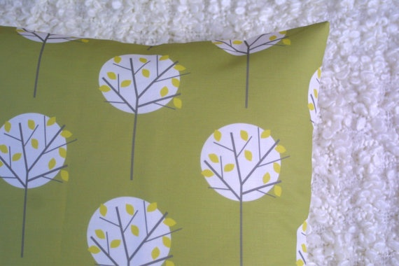 Moonlight Tree in Olive Green cushion cover by ThirtyfiveFlowers, £20.00