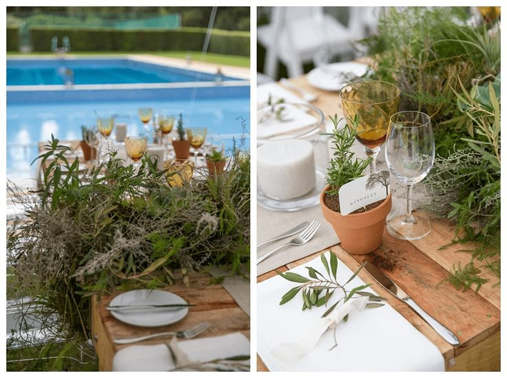 Raw wooden tables, linen napkins and table runners with rooted fynbos centrepieces