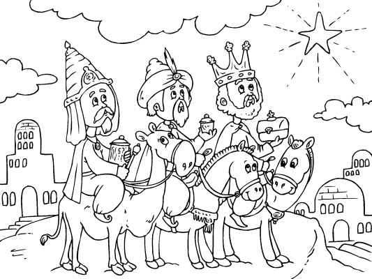 A Cute Christmas Coloring Page Of The Three Kings Bringing Gold Frankincense And Myrrh