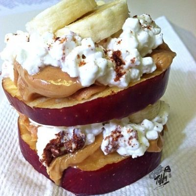 Ripped Recipes - Pb, Banana & Cottage Cheese Apple Stack - Stack your Snack! Quick, FUN and Delicious!