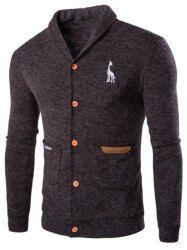 Christmas Snowflake Fawn Jacquard Turndown Collar Long Sleeve Slimming Stylish Cotton Blend Cardigan For Men in Cadetblue | Sammydress.com Mobile
