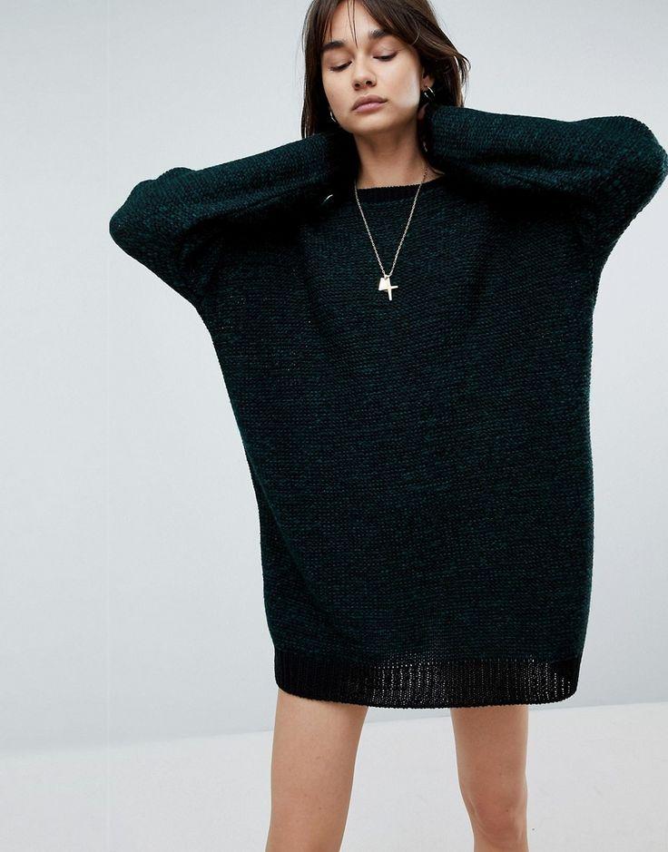 ASOS Oversized Sweater Dress In Twist Yarn - Green
