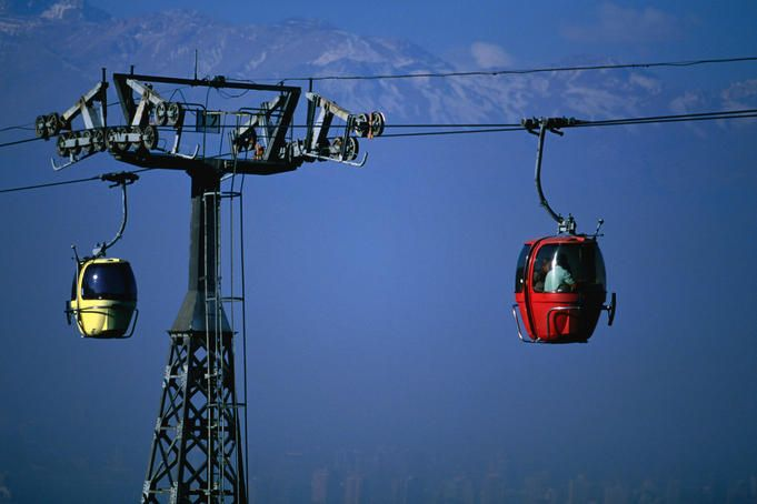 The teleferico (aerial tramway) that climbs to the top of Cerro San Cristobel (869m).Chile