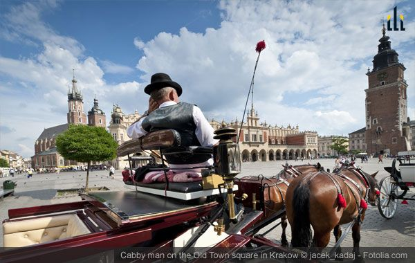 Cabby man on the Old Town square in Krakow