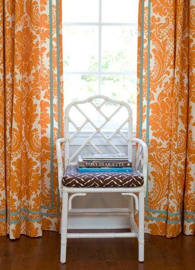 more damaskOrange Curtains, Ideas, Colors Combos, Bold Prints, Blue, Ribbons, Interiors Design, Living Room, Windows Treatments