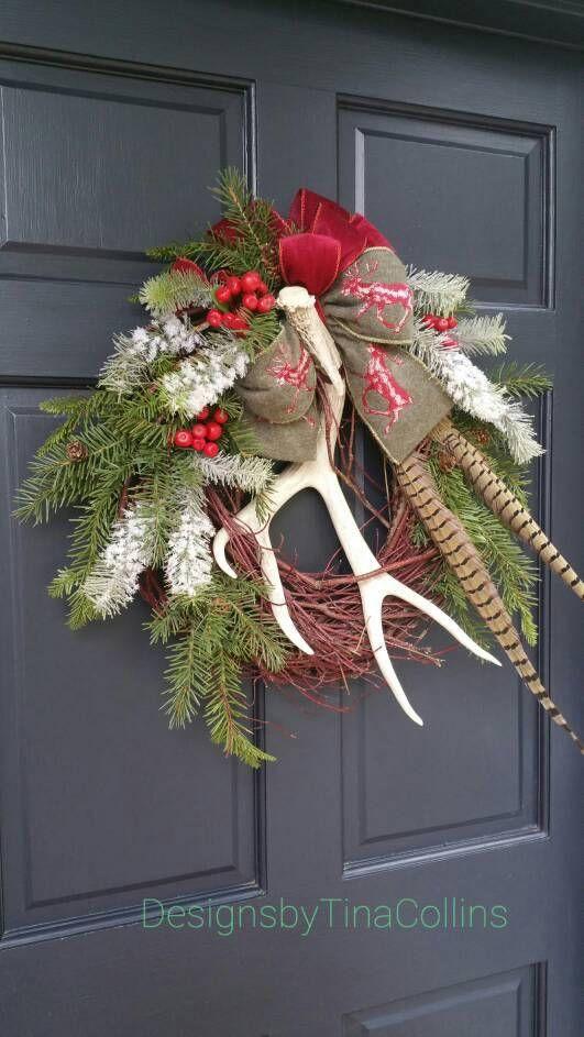 CUSTOM ORDER WREATH Hunters Cabin Lodge Christmas Wildlife