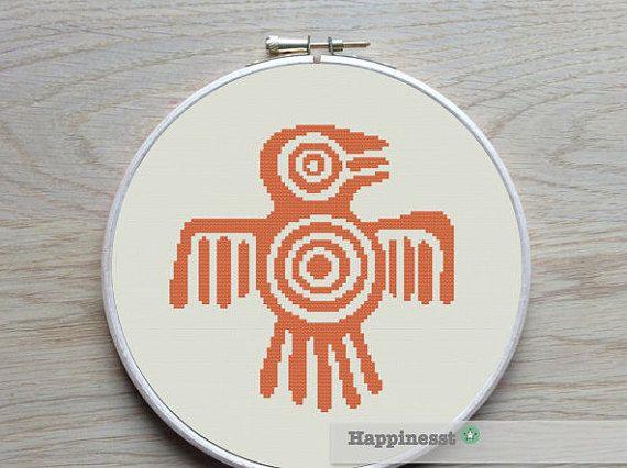 modern cross stitch pattern aztec native american von Happinesst