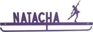 Cuelgamedallas NATACHA patinaje artístico, personalizado con tu nombre y tu silueta.