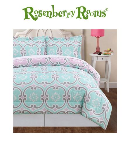 Brighten up your little girl's room with the Mint Comforter Set.  Featuring a modern geometric pattern in soft shades of aqua and pink!