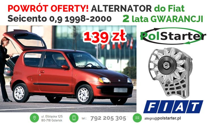 ⚫Do naszej oferty powrócił POPULARNY alternator do Fiatów Seicento, Cinquecento oraz Panda! 🛒😀👍 ⚫Nasze pozostałe aukcje w serwisie allegro:  ➜http://allegro.pl/listing/user/listing.php?us_id=22287661 ➜http://allegro.pl/listing/user/listing.php?us_id=26261890 ⚫Odwiedź także naszą stronę i sklep internetowy: ➜www.polstarter.pl ➜www.sklep.polstarter.pl ⚫KONTAKT: 📲792 205 305 ✉allegro@polstarter.pl #rozrusznik #rozruszniki #alternator #alternatory #samochód #FiatSeicento #Cinquecento #Panda