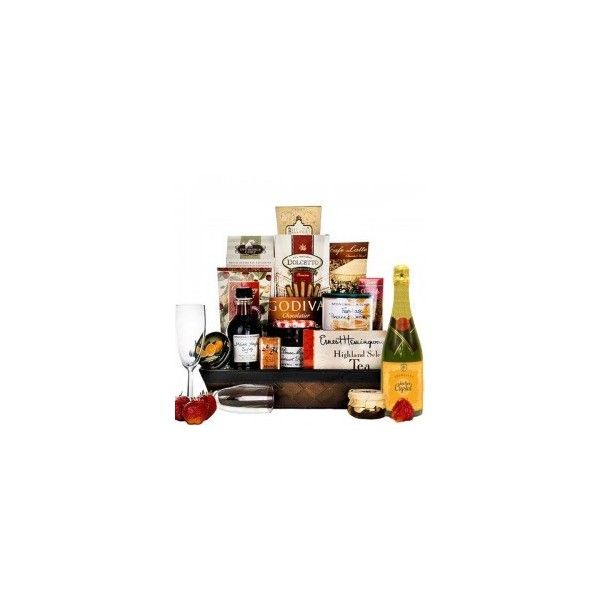 Vanilla Passion Spa Basket with Champagne Gourmet Gift Baskets For All... ❤ liked on Polyvore featuring home, home decor, small item storage and vanilla bottle