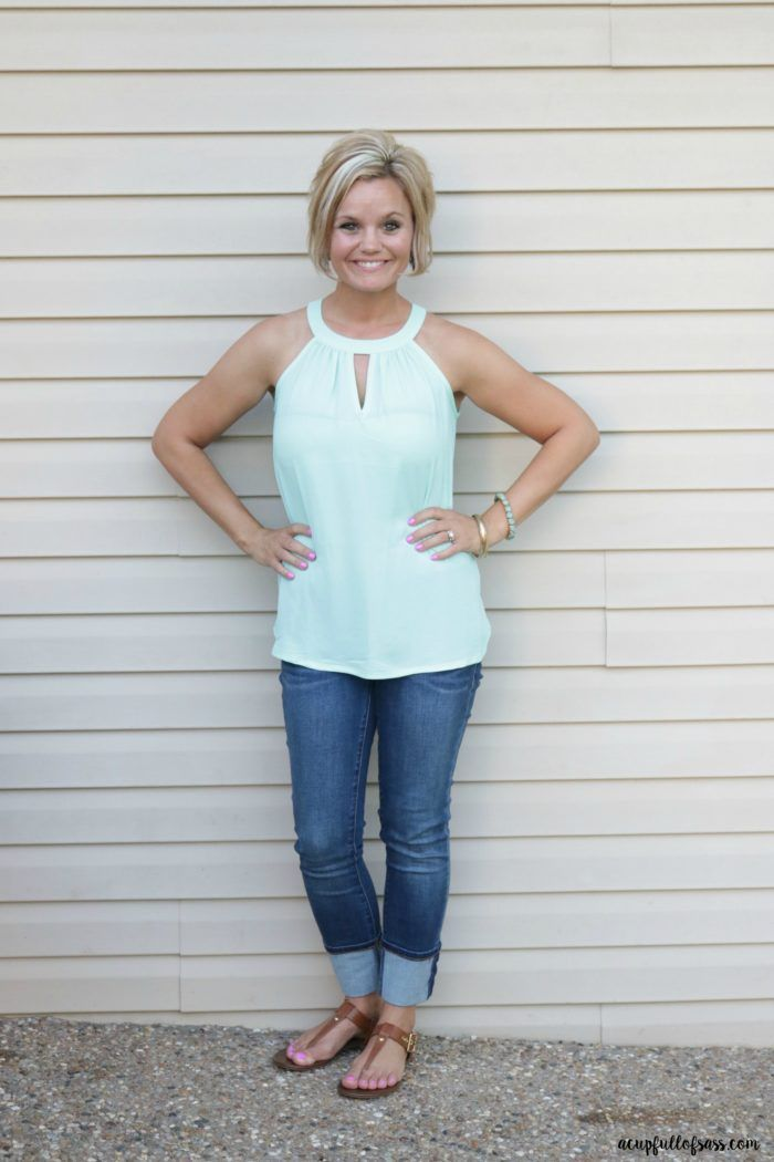 STITCH FIX papermoon garland keyhole halter blouse