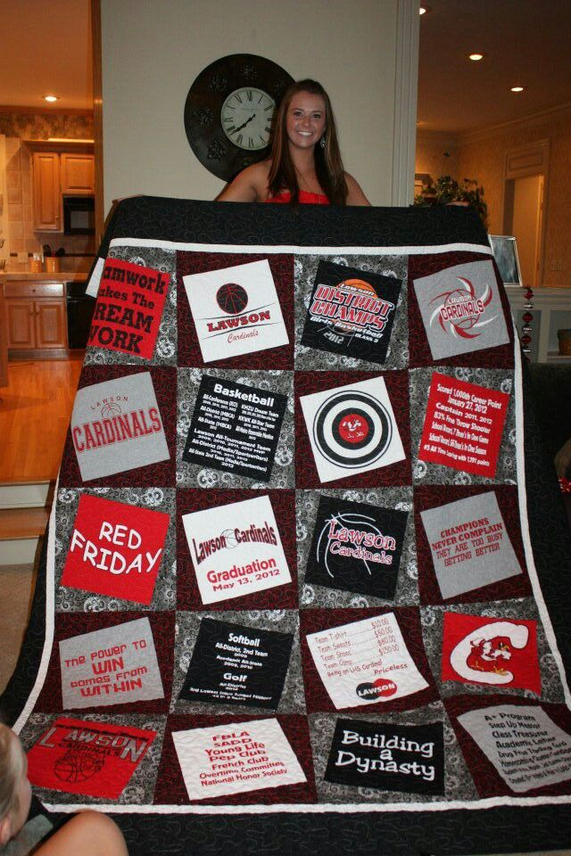 T-shirt quilt idea Like how this is offset - how I can make mine and Zach's high school quilts