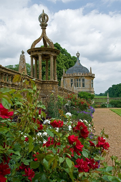 Montacute House Gardens in the South Somerset village of Montacute, UK (late 16th-century; Elizabethan architecture)