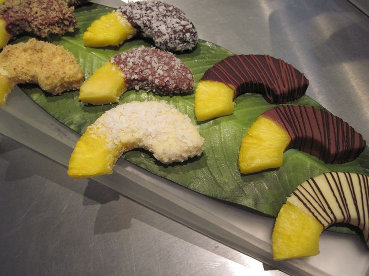 chocolate covered pineapple, plus other sweets