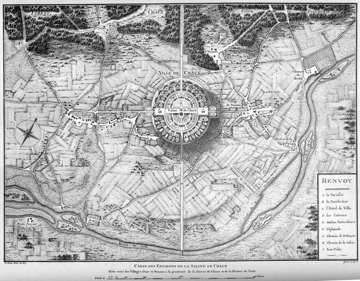 Kaart met de Saline de Chaux en omgeving ~ Plaat 14 uit 'L'architecture considerée sous le rapport de l'art, de moeurs et de législation', Parijs 1804