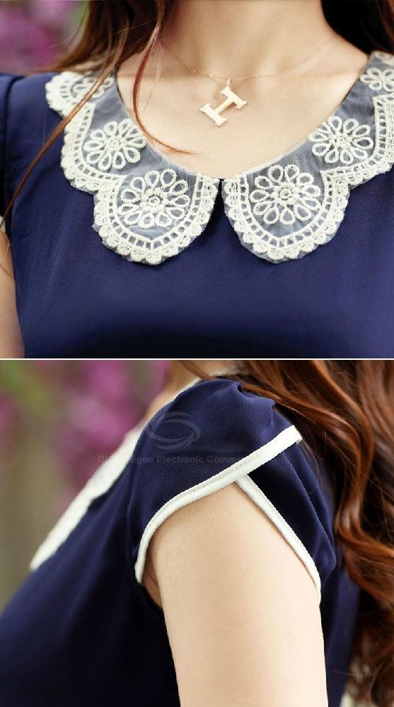 Elegant Crochet Lace Peter Pan Collar Short Sleeve Chiffon Blouse