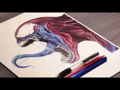 Pen Drawing Of Venom - Spider Man - Freehand Art