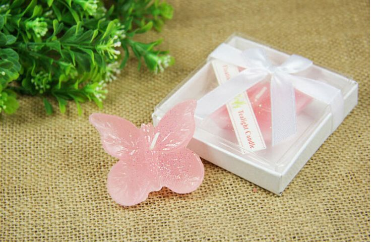 20pcs Pink Butterfly Candle For Wedding Party Birthday Souvenirs Gifts Favor package with PVC box #Affiliate