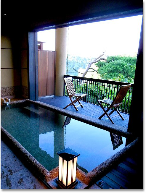 Hot spring at Noto, Ishikawa, Japan - beautiful, simple tub with spectacular view