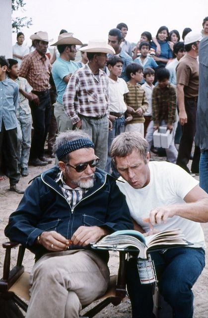 Sam Peckinpah and Steve McQueen on the set of The Getaway