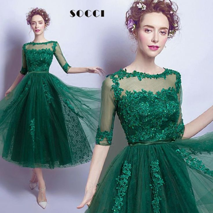 Elegant Green Lace backless Half sleeve Evening dress $100.99 => Save up to 60% and Free Shipping => Order Now! #fashion #woman #shop #diy www.weddress.net/...