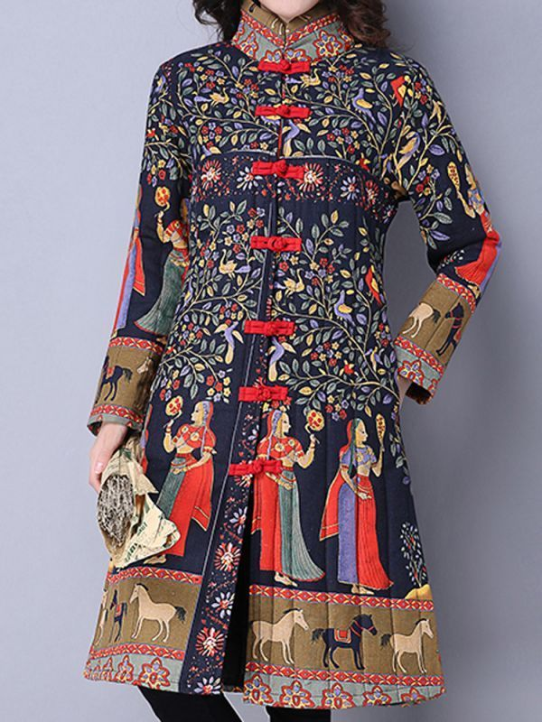 Size 0 coats gracila vintage women chinese frog stand collar printed long sleeve coats #coats #310 #parts #coats #for #women #coats #lifts #r #c #boats