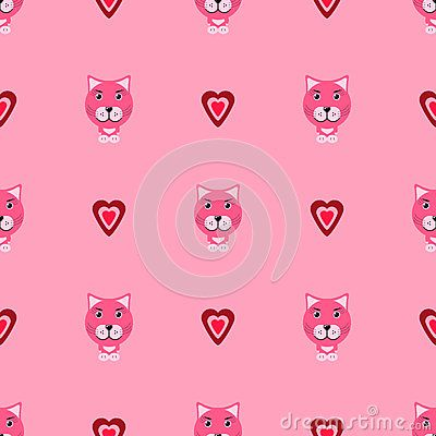 Pink kitty with hearts vector pattern valentine day
