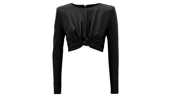 Cropped Leather Knot Top   Znaffle