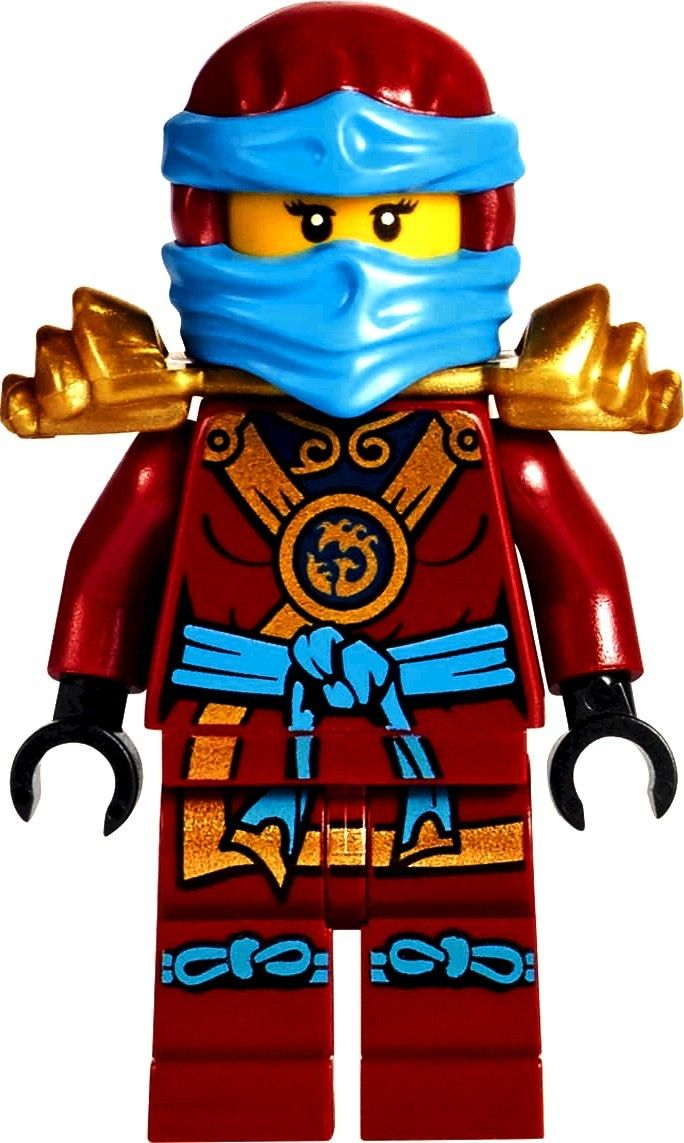 Nya (pronounced Nee-ah) is a minifigure from the Ninjago theme first introduced in 2011. She is the Master of Water, Kai's sister, and Jay's (as well as briefly Cole's) love interest. She will be one of the two main protagonists of the theme's 2017 storyline along with Kai. As Nya, her hair piece sports straight black hair. She has a double-sided head. On one side, she wears a red veil that covers her mouth. On the reverse side, her whole face is visible, revealing a neutral o...