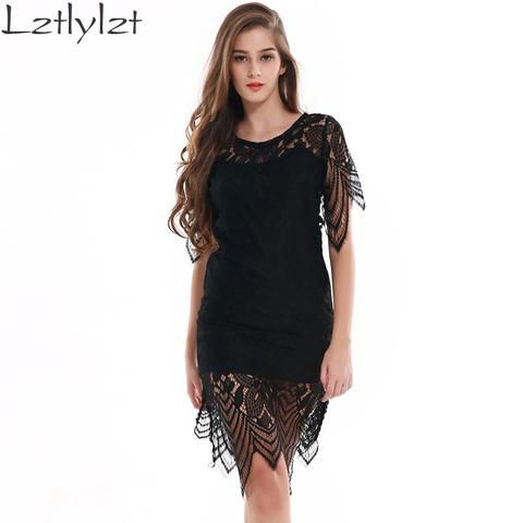 Summer Womens Dresses Beach Club Evening Party Sexy Sundress Backless Black Lace Floral Crochet Short Dress Female Clothing - On Trends Avenue