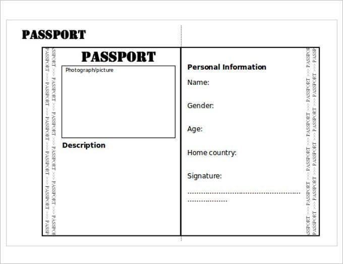 Satisfactory image intended for free printable passport template