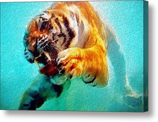 Limited Time Promotion: Swimming Tiger Stretched Canvas Print Available until 23/7/15 #Art
